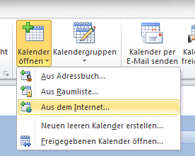 Kalender in Outlook einbinden.